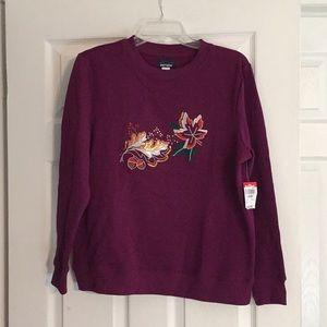 "Basic Editions ""Fall"" Burgundy Red Sweatshirt"